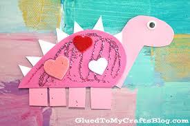 craft foam valentine dinosaur kid craft glued to my crafts