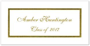 graduation name cards white with gold foil border graduation name card storkie