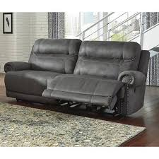 Ashley Furniture Power Reclining Sofa Reviews Ashley Furniture Austere Faux Leather Reclining Sofa In Gray