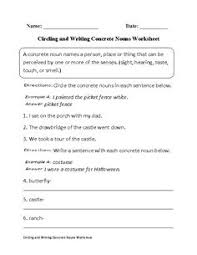 labeling concrete or abstract nouns worksheet part 1