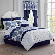 calecca indigo blue bed in a bag 12 pc comforter set