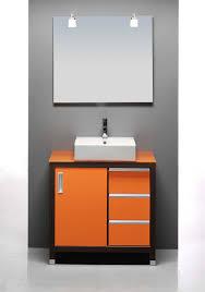 Orange Bathroom Vanity Gray Wall Paint Mirror Without Frame Orange Small Vanity Storage