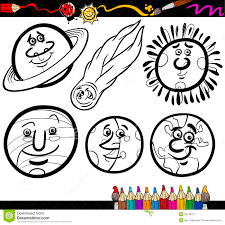 cartoon planets and orbs coloring page stock image image 32148171