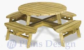 Free Round Wooden Picnic Table Plans by Traditional Round Picnic Table With Benches Out Door Furniture