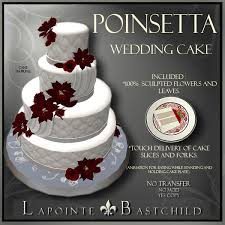 Christmas Wedding Cakes Second Life Marketplace Sculpted Wedding Cake U201cpoinsettia