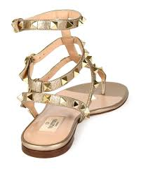 valentino rockstud leather gladiator sandals in natural lyst