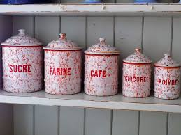 french kitchen canisters french vintage enamel canisters rare vintage french enamel