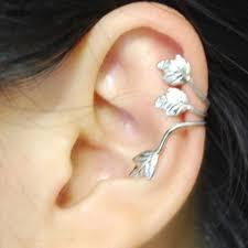 cuff piercing 2 pcs fashion no piercing silver plated leaf clip on ear cuff
