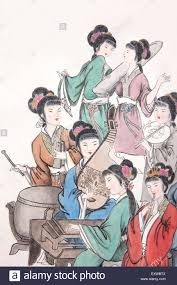 People Painting by Traditional Chinese Painting Beautiful People Stock Photo