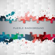 puzzle pieces with paint stains vector free download
