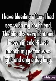 Light Brown Discharge After Period Have Bleeding After I Had With My Boyfriend The Blood Is Very