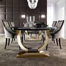 italian black lacquered gold oval dining table juliettes