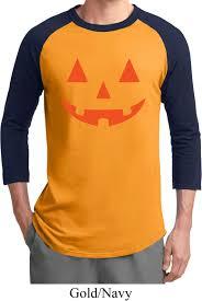 Funny Halloween Tee Shirts by Mens Halloween Shirt Orange Jack O Lantern Raglan Tee T Shirt