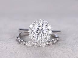 2 moissanite bridal set vintage floral engagement ring mossanite