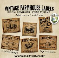 Primitive Kitchen Canisters Vintage Country Farmhouse Primitive Prim Labels Digital