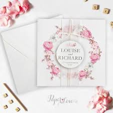 Invitation Card Application Square Pink Flowers Folded Wedding Day Invitation With Application