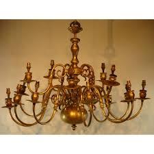 Brass Chandelier 17th Century Dutch Style Brass Chandelier