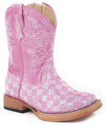s boots with bling kid s bling checkerboard square toe cowboy boots pink