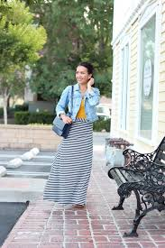 casual weekend wear petite striped maxi skirt denim jacket