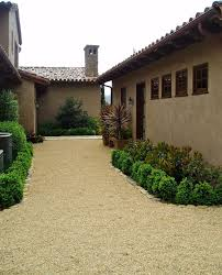 path landscape mediterranean with tile roof wooden outdoor flower pots