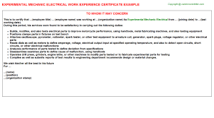 experimental mechanic electrical work experience certificate