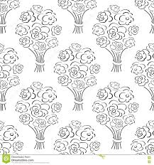 rose bouquet seamless pattern hand drawn outline background