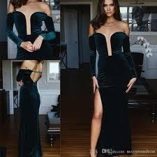 dark green velvet evening gowns 2017 off shoulder long sleeves