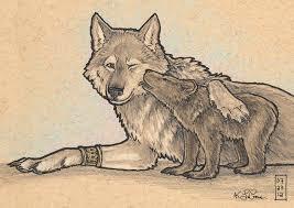 werewolf and bear cub sketch by dreamspirit on deviantart
