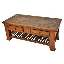 Leather And Wood Coffee Table Western Furniture Coffee Table With Braided Leather Shelf Lone