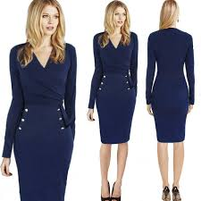 women professional dresses dark blue long sleeved v neck pencil