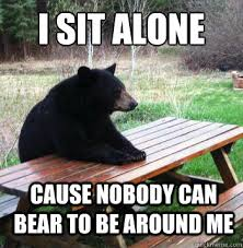 Sitting Meme - i sit alone cause nobody can bear to be around me bear picnic