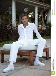 All White Attire For In Casual Style Clothing Stock Image Image Of Forties
