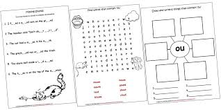 Continents And Oceans Worksheets Diphthongs Lapbook And Worksheets Ou Iman U0027s Home