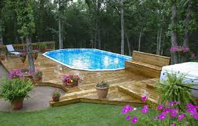 Pool Landscaping Ideas Above Ground Swimming Pool Packages 27ft Above Ground Round