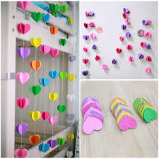 how to decorate birthday party at home 6 color stereo heart shaped paper garland wedding wedding room