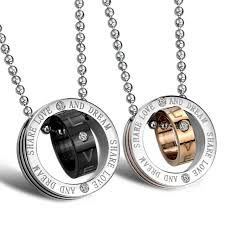 Engraved Necklaces For Couples Stainless Steel Interlocking Double Rings Couples Necklace Pendant