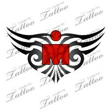 a unique ironman tattoo design with the m dot logo incorporated