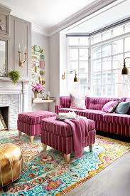 Pink And White Striped Rug Living Room Pink Sectional Sofa With Modern Striped Pillows And