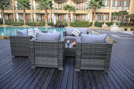 Yakoe Garden Furniture Yakoe 8 Seater Rattan Garden Furniture Patio Conservatory Sofa Set