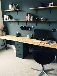 bureau à partager deux planche d osb et des caissons ikea et voilà un énorme bureau à