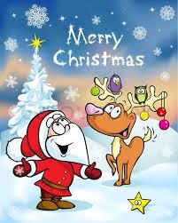 merry christmas greeting card santa claus hidden behind e tree
