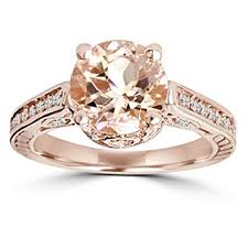 gold and morganite ring 2 carat morganite diamond vintage engagement ring 14k gold