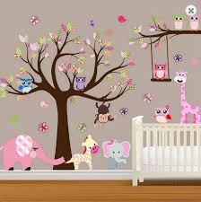 6 girl wall decal vinyl wall decal stickers white pink owl tree large baby nursery woodland wall decal baby girl wall decal