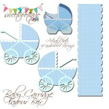diy favor box template printable baby carriage stroller buggy baby shower favor
