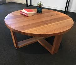 recycled tasmanian oak round coffee table reclaimed furniture