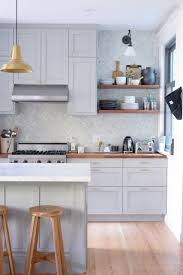 light grey kitchen cabinets with wood countertops 75 beautiful light wood floor kitchen with wood countertops