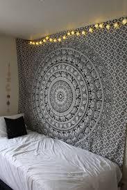 Black And White Bed Black And White Gypsy Wildflower Mandala Tapestry Mandala