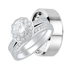 wedding rings his and hers vintage style his and hers wedding ring set trio rings for him and
