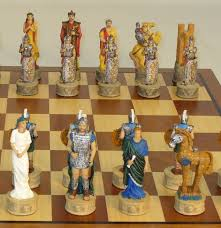sparta vs troy painted resin chessmen on a big sapele u0026 maple