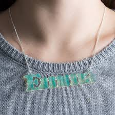 acrylic name necklace personalised iridescent acrylic name necklace by funky laser
